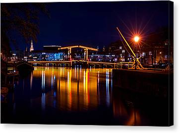 Night Lights On The Amsterdam Canals 1. Holland Canvas Print by Jenny Rainbow
