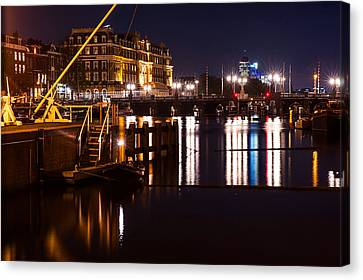 Night Lights On The Amsterdam Canals 2. Holland Canvas Print by Jenny Rainbow