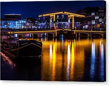 Night Lights On The Amsterdam Canals 3. Holland Canvas Print by Jenny Rainbow