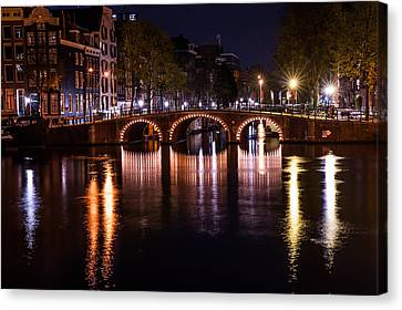 Night Lights On The Amsterdam Canals 4. Holland Canvas Print