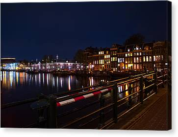Night Lights On The Amsterdam Canals 5. Holland Canvas Print by Jenny Rainbow