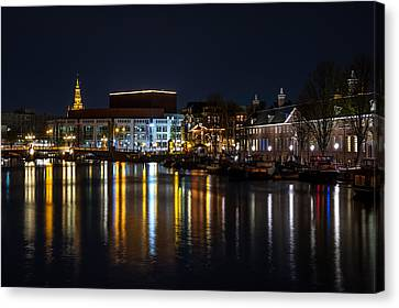 Night Lights On The Amsterdam Canals 6. Holland Canvas Print by Jenny Rainbow