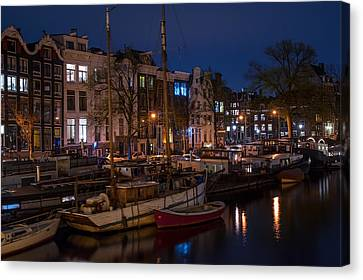 Night Lights On The Amsterdam Canals 7. Holland Canvas Print by Jenny Rainbow