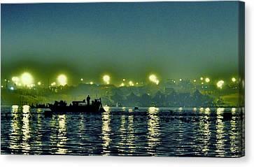 Night Lights On The Ganges - Kumbhla Mela - Allahabad Canvas Print