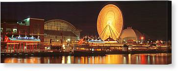 Spin Canvas Print - Night Navy Pier Chicago Il Usa by Panoramic Images