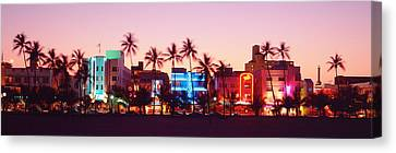 Night, Ocean Drive, Miami Beach Canvas Print by Panoramic Images