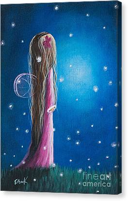 Original Fairy Artwork - Night Of 50 Wishes Canvas Print by Shawna Erback
