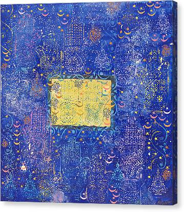 Night Of Destiny, 1990 Acrylic & Gold Leaf On Board Canvas Print by Laila Shawa