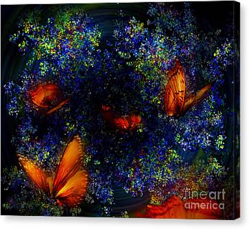 Canvas Print featuring the digital art Night Of The Butterflies by Olga Hamilton