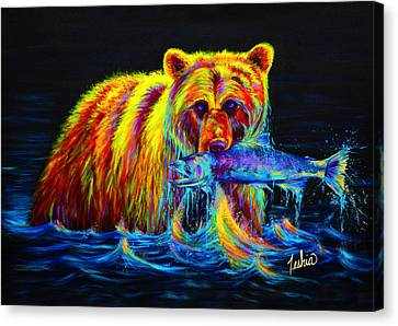 Night Of The Grizzly Canvas Print by Teshia Art