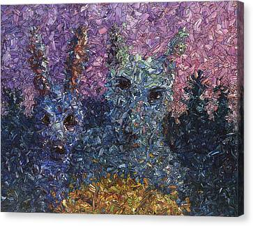 Stained Glass Canvas Print - Night Offering by James W Johnson
