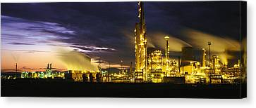 Night Oil Refinery Canvas Print by Panoramic Images