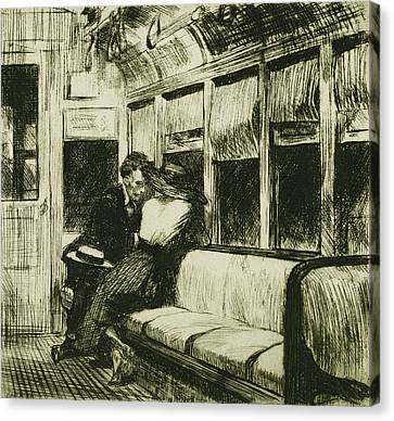 Night On The El Train Canvas Print by Edward Hopper