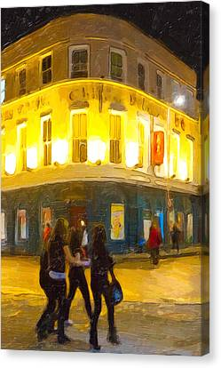 The Beautiful Irish Girl Canvas Print - Night On The Town In Galway by Mark E Tisdale