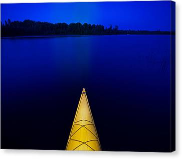 Night Paddle Canvas Print by Steve Gadomski