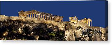 Night Panoramic View Of Acropolis Canvas Print