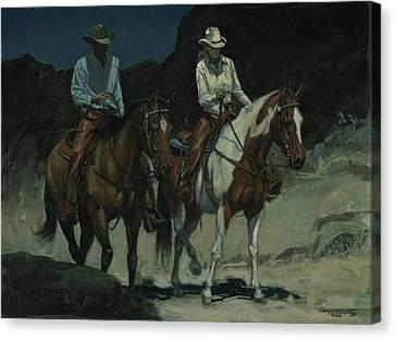 Trail Ride Canvas Print - Night Ride by Don  Langeneckert