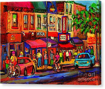 Night Riders On The Boulevard Rue St Laurent And Napoleon Deli Schwartz Montreal Midnight City Scene Canvas Print