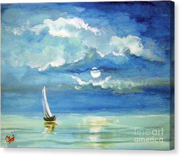 Canvas Print featuring the painting Night Sail by Carol Hart