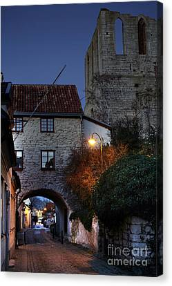 Night Scene In Medieval Town Canvas Print by Ladi  Kirn