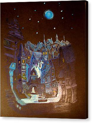 Canvas Print featuring the drawing Night Scene Tangled Town by Joseph Hawkins
