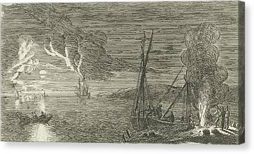 Night Scene With Fishermen Standing By A Fire Canvas Print