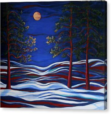 Fir Trees Canvas Print - Night Serenity  by Kathy Peltomaa Lewis