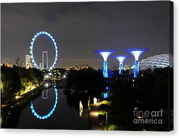 Night Shot Of Singapore Flyer Gardens By The Bay And Water Reflections Canvas Print
