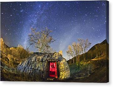 Wayside Canvas Print - Night Sky And Coaling House by Juan Carlos Casado (starryearth.com)