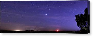 Night Sky And Setting Moon Canvas Print by Luis Argerich