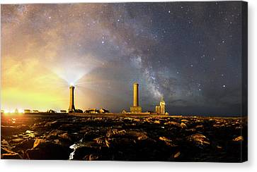 Night Sky Over A Harbour Canvas Print by Laurent Laveder