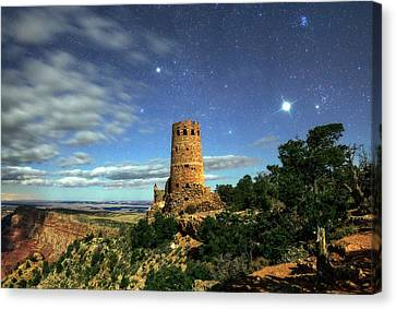 Night Sky Over Grand Canyon Watchtower Canvas Print by Babak Tafreshi