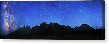 Night Sky Over Grand Teton National Park Canvas Print by Walter Pacholka, Astropics