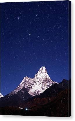 Snowy Night Night Canvas Print - Night Sky Over Mountains by Babak Tafreshi