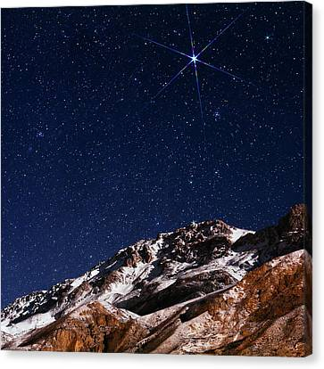 Snowy Night Canvas Print - Night Sky Over The Alborz Mountains by Babak Tafreshi