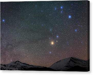 Night Sky Over The Alps Canvas Print by Babak Tafreshi