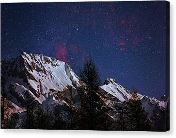 Nebula Canvas Print - Night Sky Over The Tyrol Alps by Babak Tafreshi
