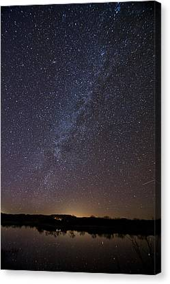 Night Sky Reflected In Lake Canvas Print