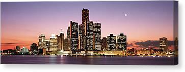 Night Skyline Detroit Mi Canvas Print by Panoramic Images