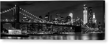Horizontal Canvas Print - Night-skyline New York City Bw by Melanie Viola