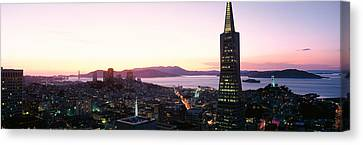 Night Skyline With View Of Transamerica Canvas Print by Panoramic Images
