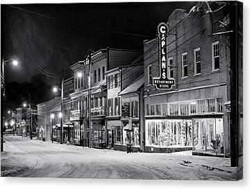 Night Snow Ellicott City Maryland Canvas Print