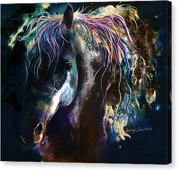 Canvas Print featuring the painting Night Stallion by Sherry Shipley