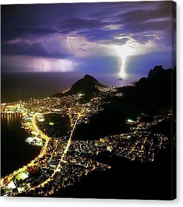 Night Storm Off Rio De Janeiro Canvas Print