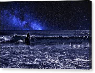 Night Surfer Canvas Print by Laura Fasulo