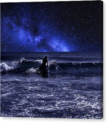 Night Surfing Canvas Print by Laura Fasulo