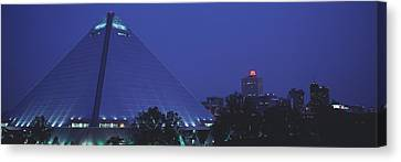 Night The Pyramid And Skyline Memphis Canvas Print by Panoramic Images