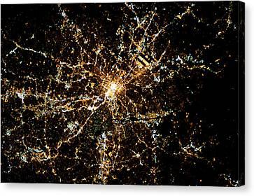Night Time Satellite Image Of Atlanta Canvas Print