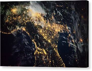 Night Time Satellite Image Of Genoa Canvas Print