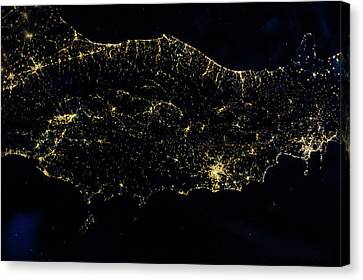 Night Time Satellite Image Of Italy Canvas Print